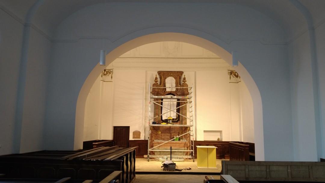 Baufortschritt Innensanierung Pfarrhofkirche: Blick in die Kirche, Stand 20. August 2021